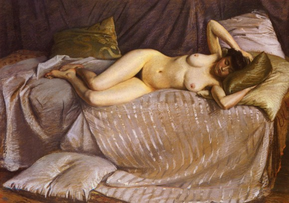 Caillebotte Gustave Femme Nue Etendue Sur Un Divan vrouwelijk naakt nackte frau 580x408 Gustave Caillebotte in het  Gemeentemuseum Den Haag